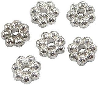 Packet 100+ Silver Tibetan 5mm Flower Spacer Beads HA15915 (Charming Beads)