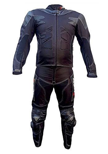 BIESSE - Tuta da MOTO per adulto in pelle e tessuto, divisibile in 2 pezzi giacca e pantalone, regolabile, Colore Nero, completa di protezioni CE (nero, L)