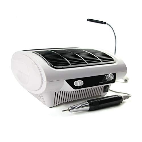 Set de manicura eléctrica con aspiración 360°, iluminación LED 3 en 1, set de manicura y pedicura, 24 W, color blanco
