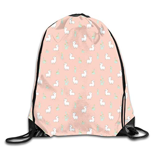 show best Cactus and Alpaca Pattern in Peach Pink Drawstring Gym Bag for Women and Men Polyester Gym Sack String Backpack for Sport Workout, School, Travel, Books 14.17 X 16.9 inch