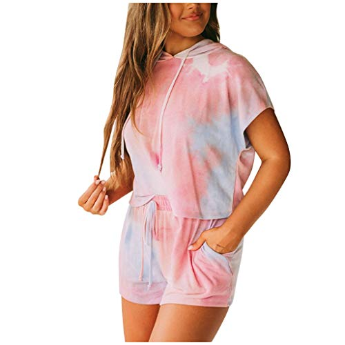 Atezch_ Tie-dye Hooded Tops Sweatshirt + Shorts Pants Set, Two-Piece Casual Suit Fitness Running Outfit for Indoor/Outdoor Wear (Pink, XL)