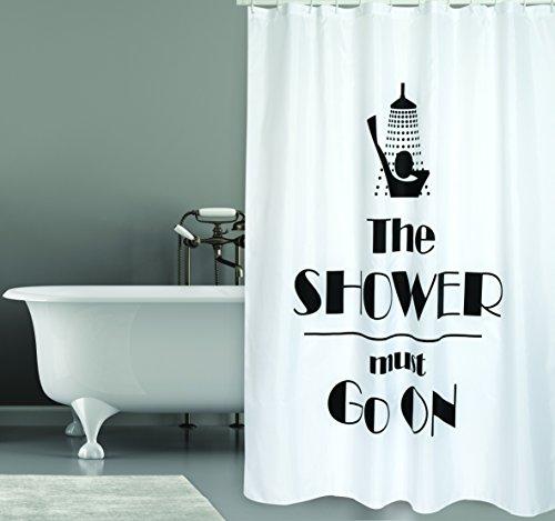 """MSV Cotexsa by Premium Anti-Schimmel Textil Duschvorhang - Anti-Bakteriell, waschbar, 100% wasserdicht, mit 12 Duschvorhangringen - Polyester, """"The Shower Must Go On"""" weiß 180x200cm – Made in Spain"""
