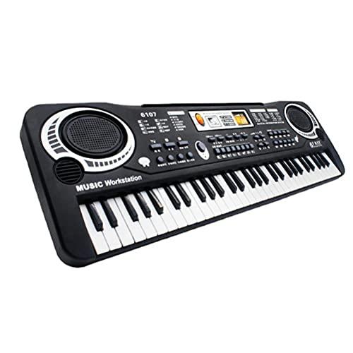 Edinber Piano de teclado electrónico,Órgano electrónico de 61 teclas con micrófono,Piano electrónico de iluminación para niños,Piano electrónico digital para principiantes