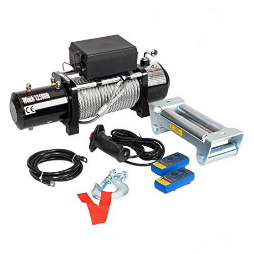 Roadstar Electric Winch Recovery 12V 12500lbs Winch Compatible with Trailer Truck SUV with Wireless Remote Control Kit