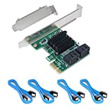 Ziyituod SATA 3.0 Card with 4 SATA Cables, PCIe SATA Controller Expression Card with Low Profile Bracket,ASM1061+ASM1093 Chip Non-Raid, Boot as System Disk, Support 4 SATA 3.0 Devices(SA3004)