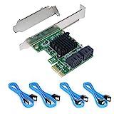Ziyituod PCIe SATA-Karte mit 4 Anschlüssen, Non-Raid, PCI Express SATA-Controller-Erweiterungskarte, 6-Gbit/s-SATA 3.0-PCIe-Karte, Boot als Systemfestplatte, Fahrer benötigt(ZYT-SA3004)