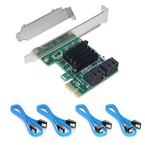 Ziyituod PCIe SATA-Karte mit 4 Anschlüssen, PCI Express SATA-Controller-Erweiterungskarte, 6-Gbit/s-SATA 3.0-PCIe-Karte ohne RAID, Boot als Systemfestplatte, Unterstützung für Festplatte oder SSD