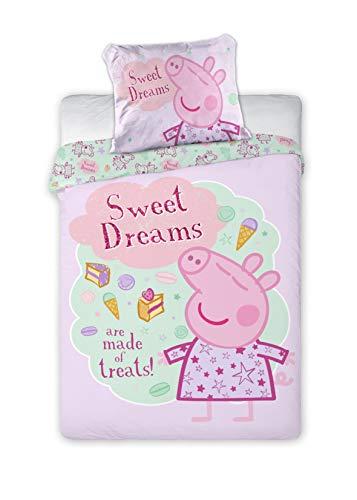 Juego de cama infantil de Peppa Pig (2 piezas, 100% algodón, 40 x 60cm + 100 x 135cm, con cremallera), rosa