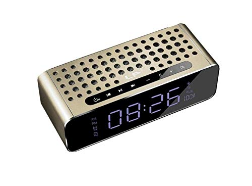 DAMAI STORE Audio, Altavoz Bluetooth Subwoofer Portátil con Sobrepeso Reloj Despertador For Automóvil Altavoz con Sonido De Subwoofer (Color : Gold)
