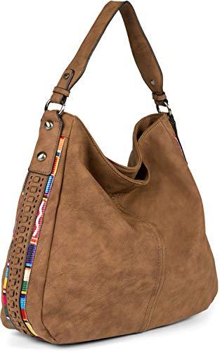 styleBREAKER Ladies Hobo Bag Bolso en imitación de cuero con decoraciones boho en los lados, shopper, bolso de hombro 02012355, color:Marrón