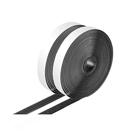 マジックテープ 両面テープ付き 粘着テープ 面ファスナー 強粘着裏糊付 粘着力強い オス メス DIY用 業務用 家庭用 工業用 幅2CM×長5M 2本セット(ブラック)