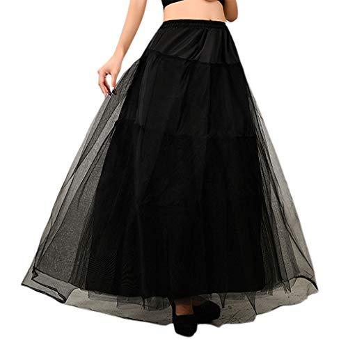 LEZAIMEI Petticoat Skirt,3-Layer Hard Net Soft Support no Hoop Wedding Dress Fluffy Petticoat Bridal Wedding Lining Skirt Ladies Women Slip Skirts Black