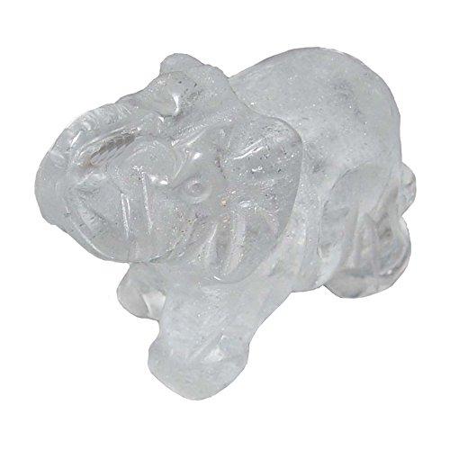 Bergkristall Elefant ca. 30 x40 mm aus echtem Edelstein mit Rüssel nach oben Glücksbringer.(3241)
