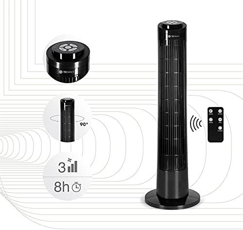 TECVANCE Tower Fan Basic - Ventilatore a colonna con telecomando, ventilatore a torre silenzioso e oscillante a 90°, con timer, 76 cm x 24 cm, nero