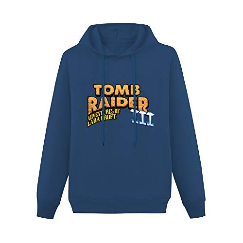 Tomb Raider III Adventures of Lara Croft Pullover Hoodies Classic Sweatshirts Hoodies with Kangaroo Pocket Hoody Navy 2XL
