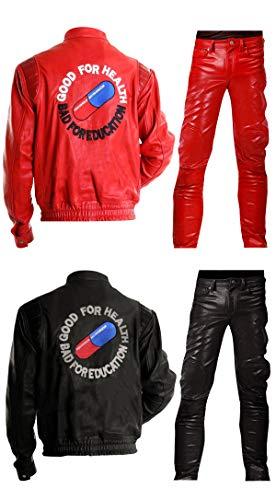 Fashion_First Herren Akira Shotaro Kaneda Pillenkapsel rot/schwarz Kostüm Bomber Biker Lederjacke Gr. L, Akira schwarze Jacke
