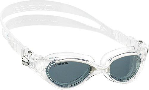 Cressi Flash - Premium Erwachsene Schwimmbrille Antibeschlag und 100% UV Schutz, Weiß/Transparent - Geräucherte Linsen, One Size