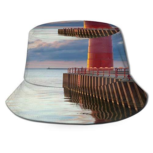 Unisex Summer Fisherman Cap,Amazing Photo of Milwaukee Lighthouse at Sunrise Calm Water and Beautiful Sky,Travel Beach Outdoor Sun Hat