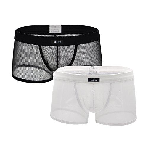 iooico Herren Boxershorts, weiche Mesh-Unterhose durchscheinende Unterwäsche 2BW Large (09XXL)