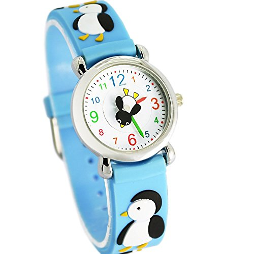 Jewtme Kids Time Teacher Watches 3D Cute Cartoon Silicone Children Toddler Wrist Watches for Ages 3-10 Boys Girls Little Child Penguin Blue