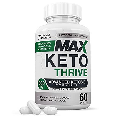 Max Thrive Keto Pills Includes Apple Cider Vinegar goBHB Exogenous Ketones Advanced Ketogenic Supplement Ketosis Support for Men Women 60 Capsules
