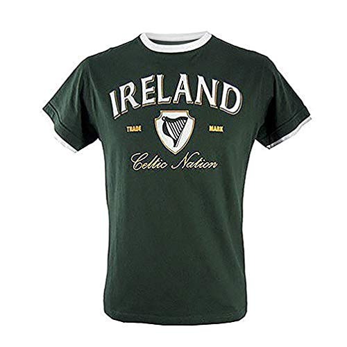 T-Shirt With Harp Celtic Nation Print And White Trim, Bottle Green Colour, Small