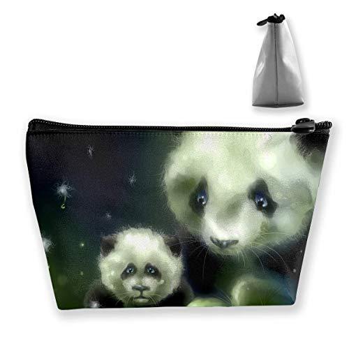 Makeup Bag Cosmetic Panda Bears Portable Cosmetic Bag Mobile Trapezoidal Storage Bag Travel Bags with Zipper