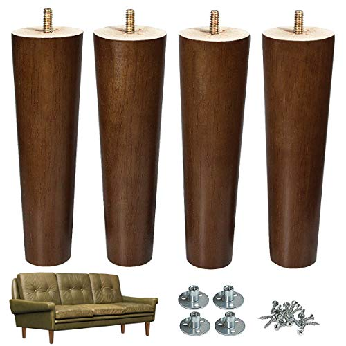 AORYVIC Furniture Leg Sofa Legs Replacement Wood 8 inch Mid Century Dresser Legs with 5/16 inch Bolt Set of 4