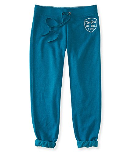 Aeropostale Womens Classic Cinch Sweatpants Teal NY Small