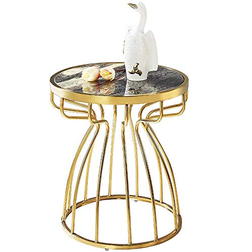 Snack Table Side End Sofa Round Portable Coffee Table for Living Room Bedroom 20' Marble Tabletop Fashion Golden Design