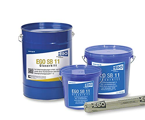 EGO SB 11 Profi-Glaserkitt 5 kg Kunststoff-Eimer, Fensterkitt, Holzfensterkitt, Reparaturkitt