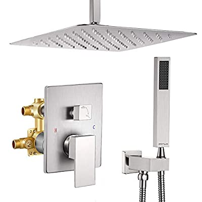 Esnbia Shower System, 12 Inch Ceiling Mount Brushed Nickel Shower Faucet Bathroom Luxury Rain Mixer Shower Combo Set Rainfall Shower Head System (Rough in Shower Faucet Vlave Include?