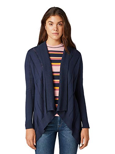 TOM TAILOR Damen Wasserfall Strickjacke, Blau (Real Navy Blue 10360), XL
