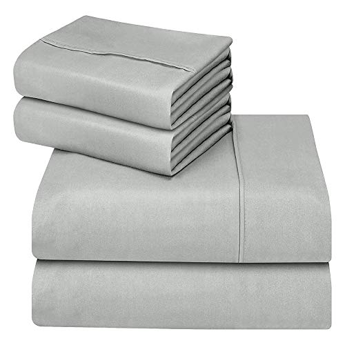 hyxt Oakome Bedding -4 Pezzi Set per Letto Doppio - Matrimoniale UK King Fitted Sheet with 2 Pillow Cases, Stain Resistant,Comfortable, Soft & Extremely Durable (Gray, King)