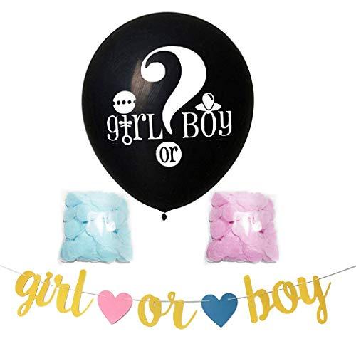 Demino 1 Set 36 Inch Black ronde latex ballon Banner Jongen of hij of zij Gender Reveal Party Ballon met Roze Blauw Confetti