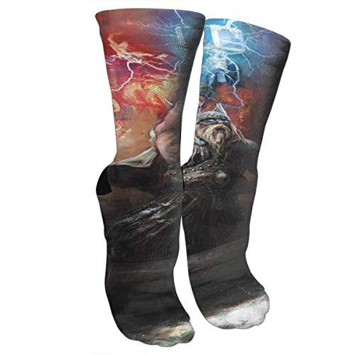 zhouyongz Blitzzorn im Wikinger-Dorn-Schiff, das in feurigen Wellen schwimmt Odin-Kompressionsstrümpfe für Frauen und Männer Beste Sport, Laufen,