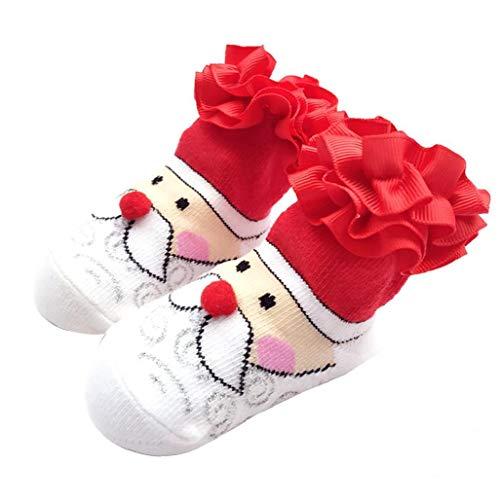 Nicetruc Navidad Calcetines Calcetines del Bebé De Encaje con Patrón Lindo De Santa Claus De Dibujos Animados Bebé Medias De Navidad Calcetines del Invierno 0-12m 1 Par