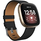 Velavior Leather Bands Compatible with Fitbit Sense/Fitbit Versa 3, Genuine Leather Replacement Wristbands Classic Adjustable Strap for Women Men (Small, Black)