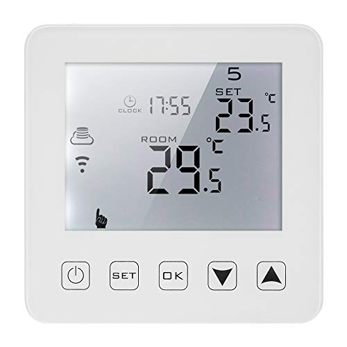 Termostato de calentamiento de agua,Funien 3A Termostato de caldera de gas de calentamiento de agua programable Pantalla táctil LCD con retroiluminación blanca Regulador de temperatura Control de voz