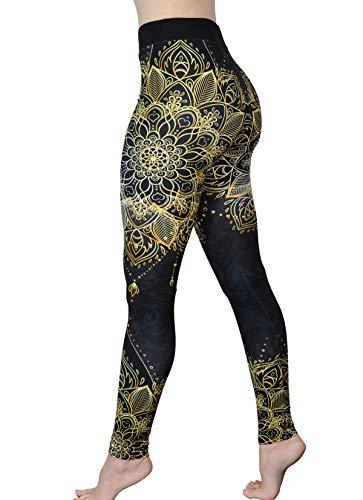Pantalones de Yoga cómodos – Capris de Entrenamiento – Leggings de Cintura Alta para Mujer – Leggings de Yoga Estampados Ligeros - Dorado - Talla Única