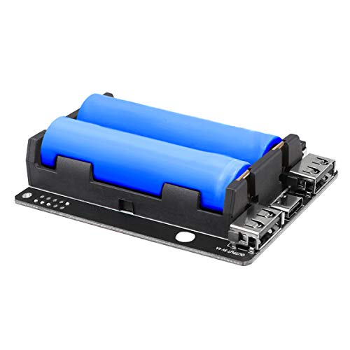 MakerHawk Raspberry Pi UPS Power Supply Uninterruptible UPS HAT 18 650 Battery Charger Power Bank Power Management Expansion Board 5V for Raspberry Pi 4 Model B / 3B + / 3B (Not include battery)