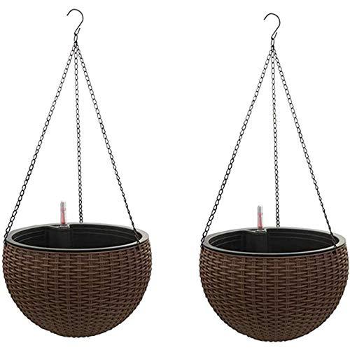DYWOZDP Cestini per fioriere sospese autoirriganti con indicatore di riempimento del Serbatoio d'Acqua, Set di vasi da Fiori da Giardino Rotondi in Resina autoirrigante per Piante da Giardino