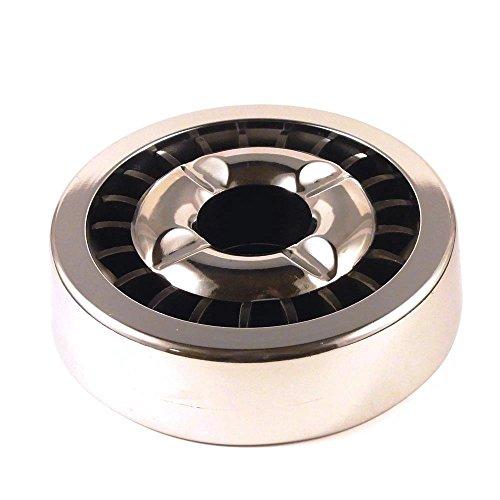 Starlet24® Gluttöter Aschenbecher für draußen Windaschenbecher Ascher stabil rund flach - Silber