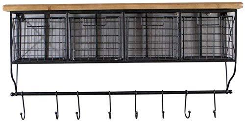 Zwevende planken, wandmontage, van zwart ijzer, decoratief, van hout, met laden en haken, om op te hangen, voor thuis met houder - ruimtebesparend (maat: klein) S