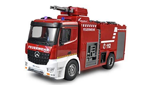 Amewi Mercedes Benz 22503 camion dei pompieri 1:18, RTR, veicoli con licenza ufficiale, rosso/bianco
