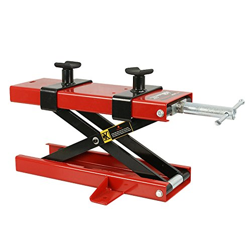 Smartxchoices Red/Black Motorcycle Jack Lift Stand 110 lbs Scissor Lift Jack ATV Motorcycle Dirt Bike Scooter Crank Stand (1100 lbs)