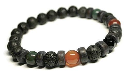 Unisex Gemstone Bracelet/Anti Anxiety/Stress Relief/Depression/Carnelian/Bloodstone/Black Onyx/Lava stones/For Men/Holistic Jewelry/Aromatherapy/Essential Oil Diffuser Beaded Bracelets