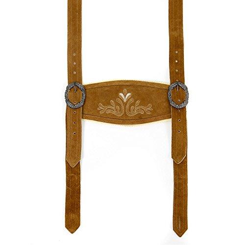 Almbock Trachten Hosenträger - klassische Hosenträger in mittelbraun verziert mit traditioneller Strickerei und antiker Schnallen für Herren