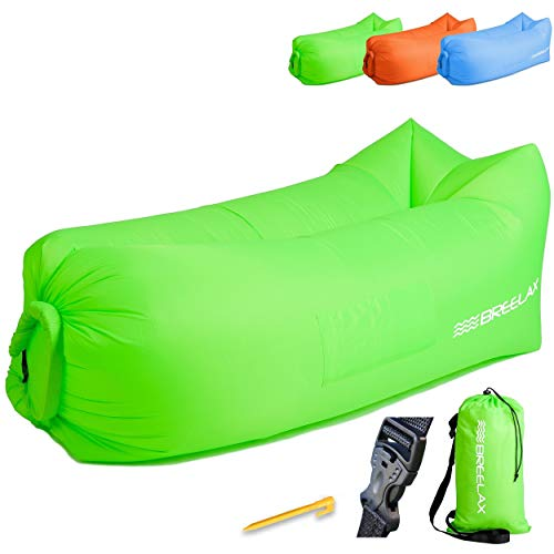 Breelax Inflatable Lounger - Best Furniture for Camping, Traveling, Hiking, Beach and Pool - Inflates Without a Pump - Used as Air Chair, Sofa, Couch, Hammock