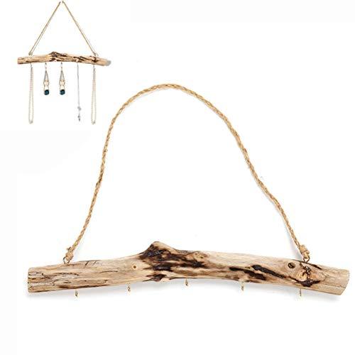 Leikance Schmuckhalter aus Treibholz, einzigartiger Wandschmuck zum Aufhängen mit 5 Haken für Halsketten und Ohrringe